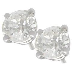 2.24 Carat Diamond and Platinum Stud Earrings