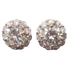 2.24 Carat Diamond Stud Cluster Earrings