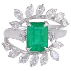 2.24 Carat Emerald Diamond 18 Karat Gold Leaf Ring