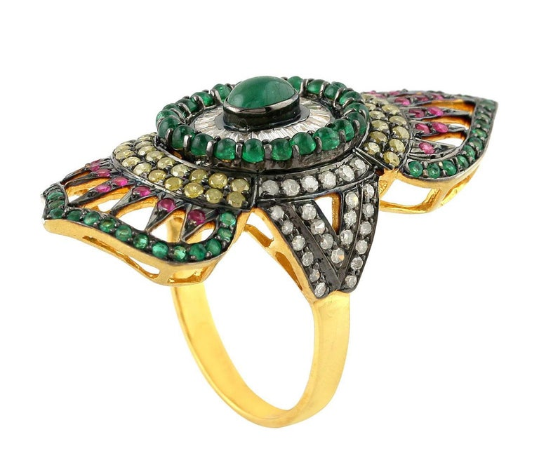 Contemporary 2.24 Carat Emerald Ruby Diamond Cocktail Marrakech Ring For Sale
