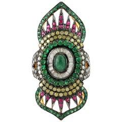 2.24 Carat Emerald Ruby Diamond Cocktail Marrakech Ring