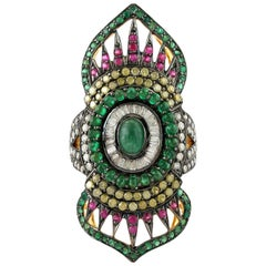 2.24 Carat Emerald Ruby Diamond Cocktail Marrakech Ring