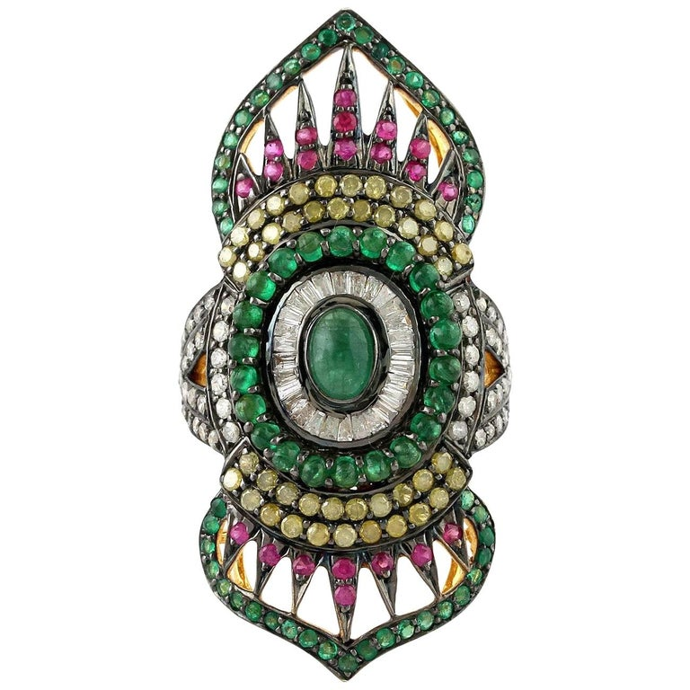 2.24 Carat Emerald Ruby Diamond Cocktail Marrakech Ring For Sale