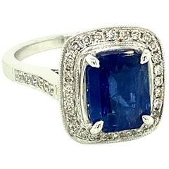 2.52 Carat GRS Certified Unheated Burmese Sapphire and Diamond Platinum Ring