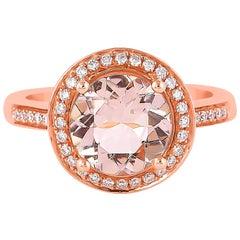 2.24 Carat Morganite and Diamond Ring in 18 Karat Rose Gold