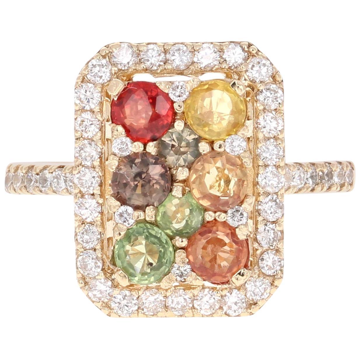 2.24 Carat Multicolored Sapphire Diamond 14 Karat Yellow Gold Cluster Ring