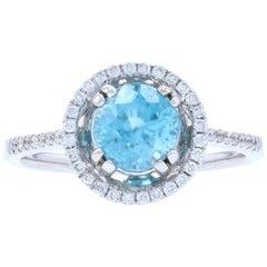 2.24 Carat Round Cut Blue Zircon and Diamond Ring, 14 Karat White Gold Halo