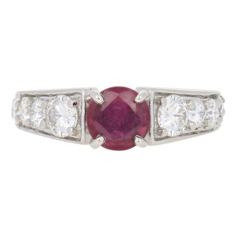 2.24 Carat Round Cut Ruby and Diamond Ring, 900 Platinum AGL Graded