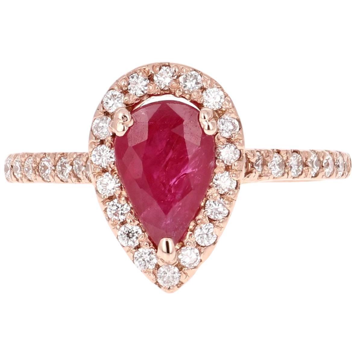 2.24 Carat Ruby Diamond Rose Gold Bridal Ring