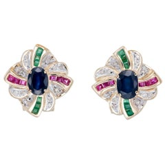 2.24 Carat Sapphire Diamond Ruby Emerald Yellow Clip Post Gold Earrings