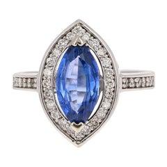 2.24 Carat Tanzanite Diamond 14 Karat White Gold Bridal Ring