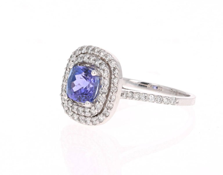 Modern 2.24 Carat Tanzanite Diamond Cocktail White Gold Ring For Sale