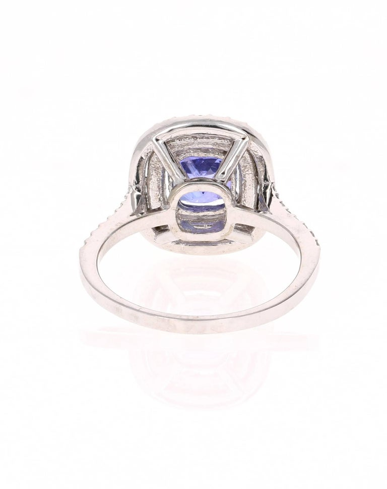 2.24 Carat Tanzanite Diamond Cocktail White Gold Ring In New Condition For Sale In San Dimas, CA
