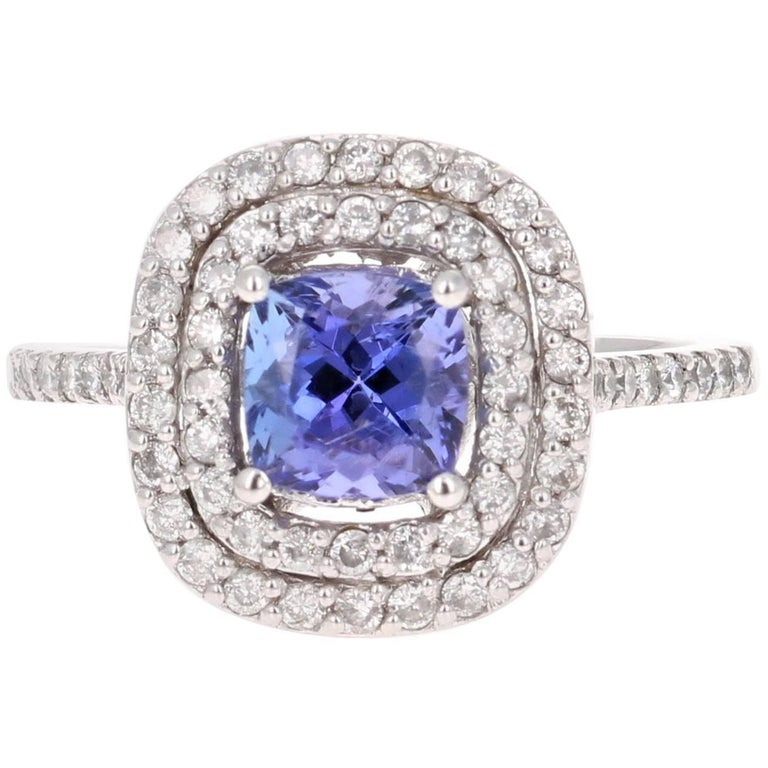 2.24 Carat Tanzanite Diamond Cocktail White Gold Ring For Sale