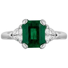 2.24 Carat Zambiam Emerald Diamond Three-Stone Ring
