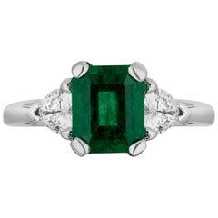 2.24 Carat Zambiam Emerald Diamond Three-Stone Ring