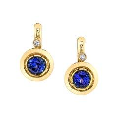 2.24 Carat Tanzanite and Diamond 18 Karat Yellow Gold Lever-Back Earrings