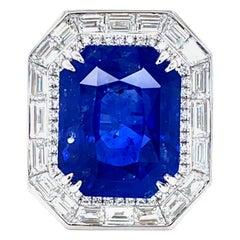 22.43 Carat GRS Certified Cornflower Blue Sapphire and White Diamond Gold Ring