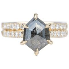 2.245 Carat Hexagon Diamond 14 Karat Yellow Gold Engagement Ring AD1980S-1