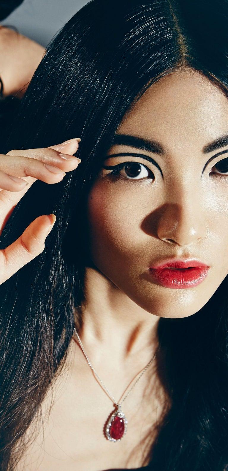 22.48 Carat Burmese Ruby Cabochon 'No Heat' Pendant with Diamonds 6
