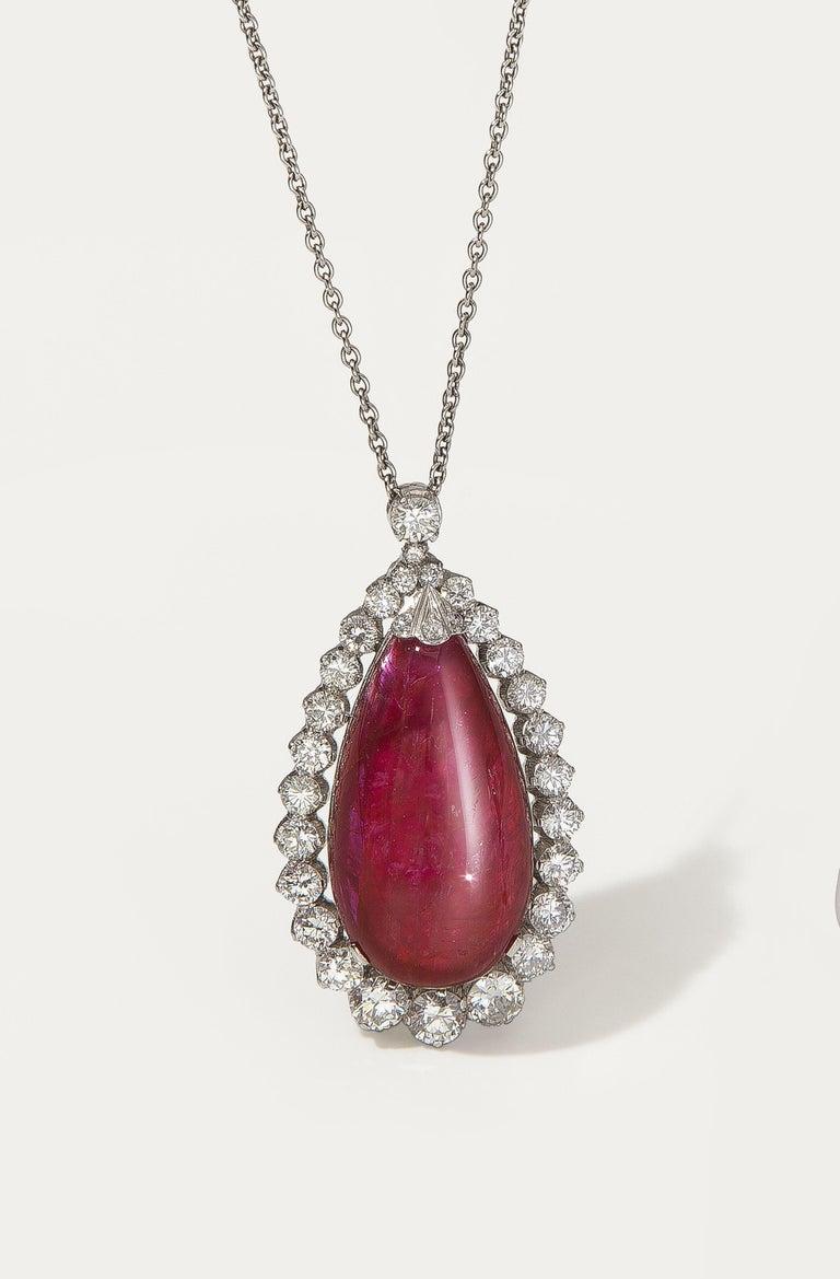 22.48 Carat Burmese Ruby Cabochon 'No Heat' Pendant with Diamonds In Excellent Condition In Berlin, DE