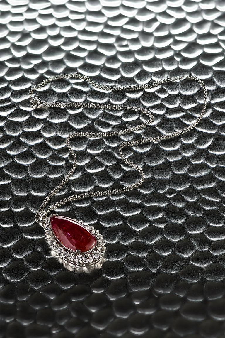 22.48 Carat Burmese Ruby Cabochon 'No Heat' Pendant with Diamonds For Sale 3