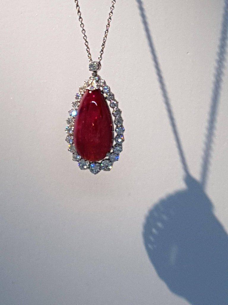 22.48 Carat Burmese Ruby Cabochon 'No Heat' Pendant with Diamonds 4