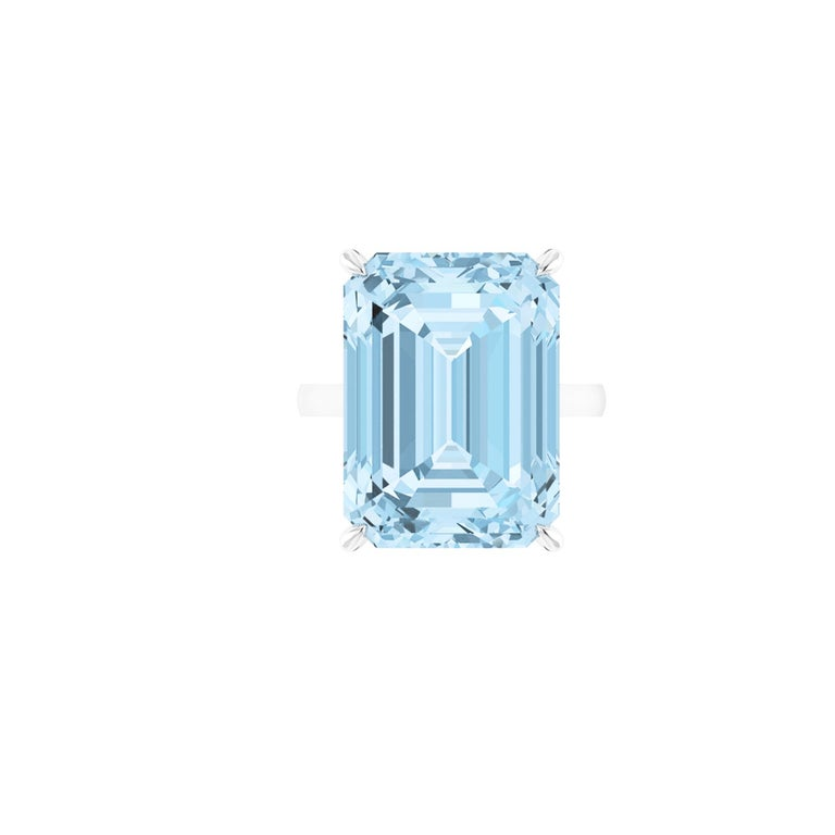 22.49 carat aquamarine, emerald set in an hand crafted, delicate and sophisticated looking Platinum 950 ring, manufactured with the best Italian manufacturing. Complimentary GRS Certification upon order The ring size is 6, adjustable upon order