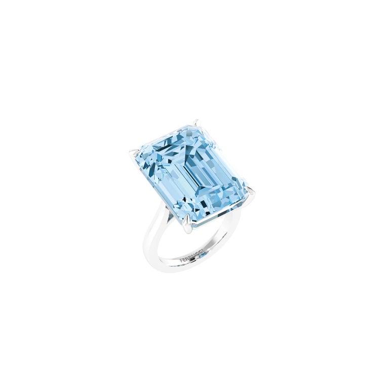 Art Deco 22.49 Carat Emerald Cut Aquamarine Platinum Cocktail Ring For Sale