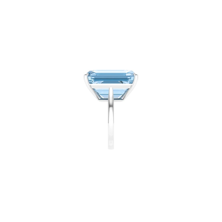 22.49 Carat Emerald Cut Aquamarine Platinum Cocktail Ring In New Condition For Sale In Lake Peekskill, NY