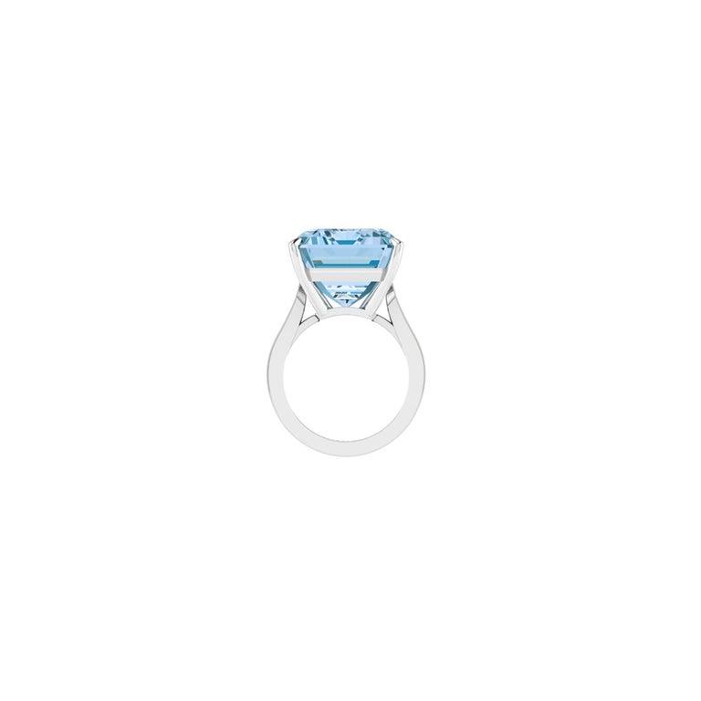 Women's 22.49 Carat Emerald Cut Aquamarine Platinum Cocktail Ring For Sale