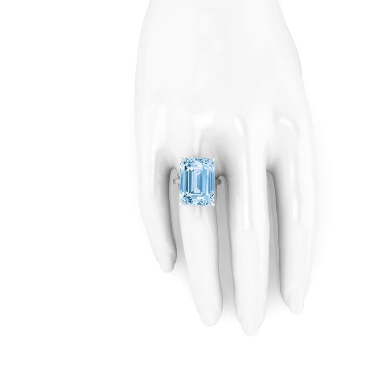 22.49 Carat Emerald Cut Aquamarine Platinum Cocktail Ring For Sale 1