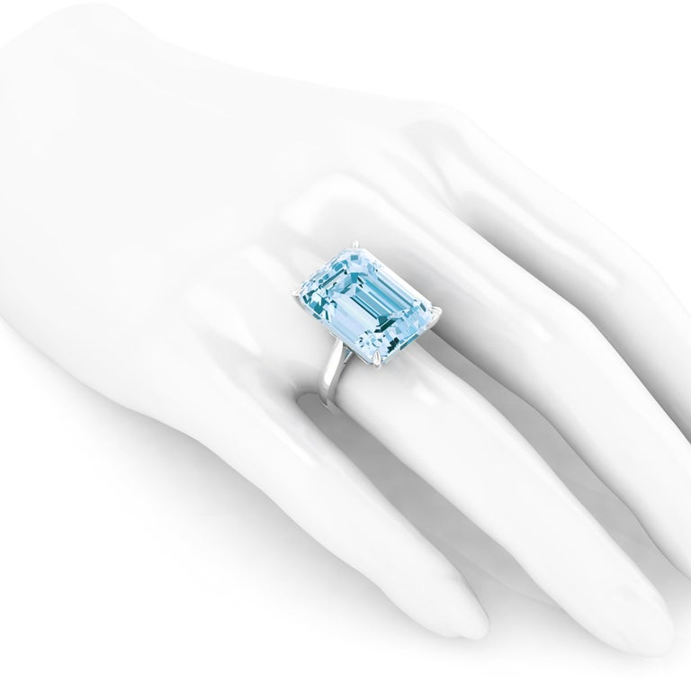22.49 Carat Emerald Cut Aquamarine Platinum Cocktail Ring For Sale 2