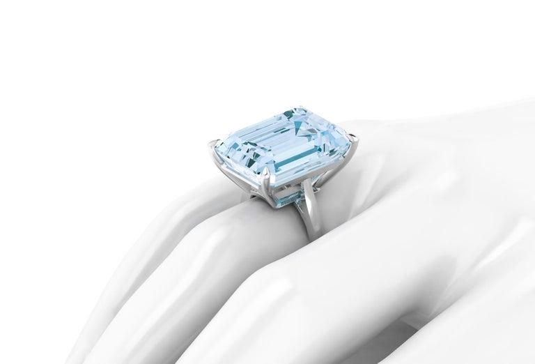 22.49 Carat Emerald Cut Aquamarine Platinum Cocktail Ring For Sale 3