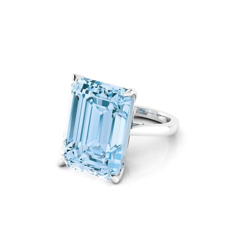 22.49 Carat Emerald Cut Aquamarine Platinum Cocktail Ring For Sale 4