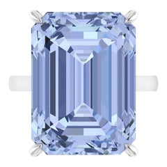 22.49 Carat Emerald Cut Aquamarine Platinum Cocktail Ring