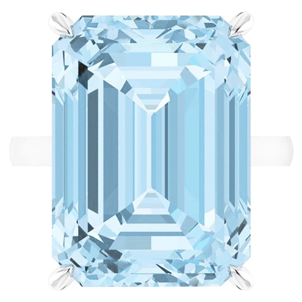 22.49 Carat Emerald Cut Aquamarine Platinum Cocktail Ring