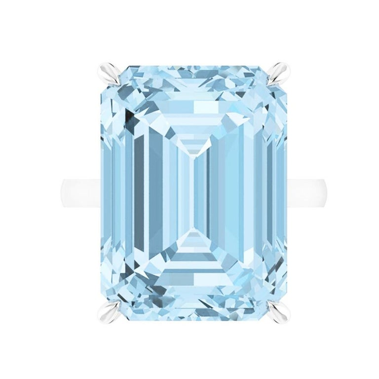 22.49 Carat Emerald Cut Aquamarine Platinum Cocktail Ring For Sale