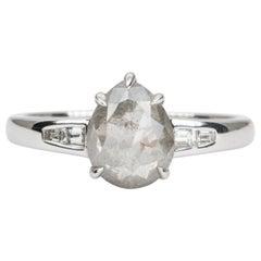 2.24ct Pear Shape Salt and Pepper Diamond Bridal Ring 14K White Gold AD2118-1