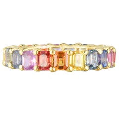 2.25 Carat 14 Karat Gold Rainbow Baguette Eternity Band, Ben Dannie