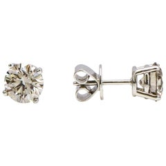 2.25 Carat 14 Karat White Gold Light Brown Diamond Stud Earrings