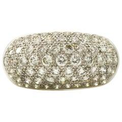 2.25 Carat 18 Karat White Gold Pave Diamond Dome Ring