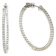 2.25 Carat 18 Karat White Gold Diamond Hoop Earrings