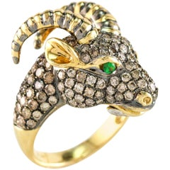 2.25 Carat Champagne Diamonds 18 Karat Gold Goats Head Fashion Ring