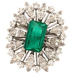 2.25 Carat Colombian Emerald and Diamond Ring in 18 Karat White Gold
