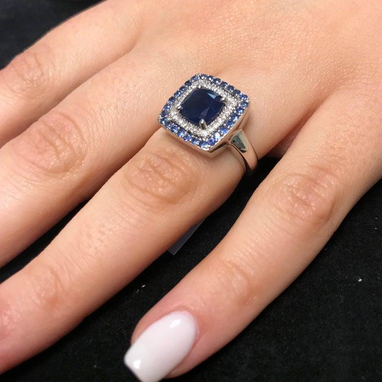 Cushion Cut 2.25 Carat Cushion Blue Sapphire and White Diamond Ring For Sale
