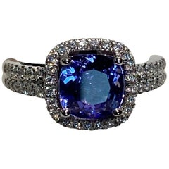 2.25 Carat Cushion Cut Tanzanite Diamond Halo Ring