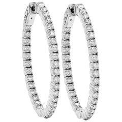 2.25 Carat Diamond 14 Karat White Gold Oval Shape Hoop Earrings