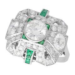 2.25 Carat Diamond and Emerald Platinum Cluster Ring, Art Deco