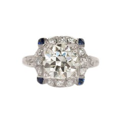 2.25 Carat Diamond and Sapphire Platinum Engagement Ring